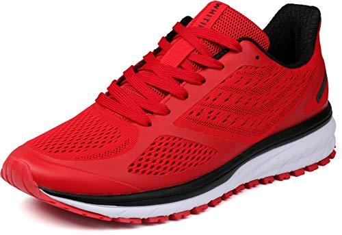 WHITIN Laufschuhe Herren Joggingschuhe Straßenlaufschuhe Turnschuhe Sportschuhe Gym Schuhe Walkingschuhe Fitnessschuhe Leichte Alltagsschuh Dämpfung Running Shoes Traillauf Schuhe Rot 43 EU