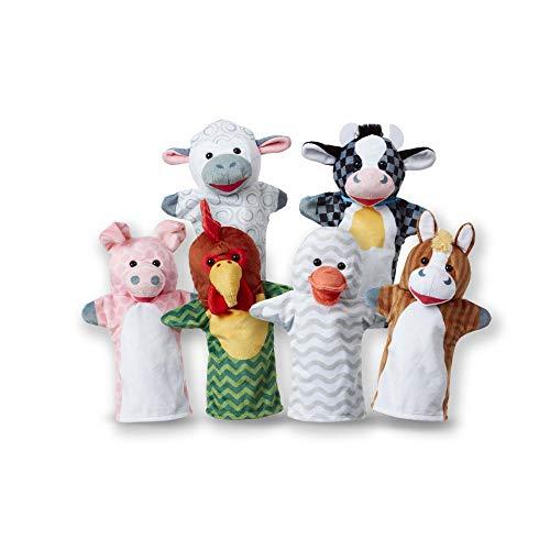 Melissa & Doug - Marionetas de mano de amigos del establo, juego de 6 (vaca, oveja, caballo, pato, gallina y cerdo)
