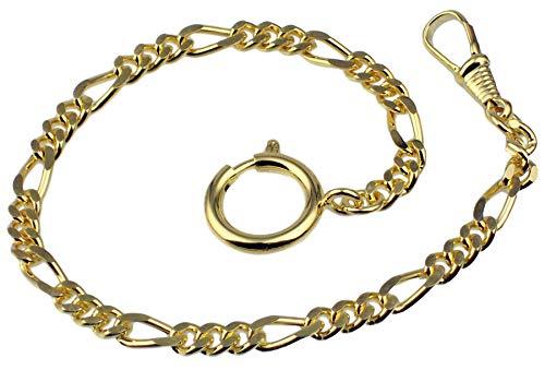 Taschenuhrkette Vergoldet Figaro-Panzer Uhrkette 25cm Taschenuhr Uhr Kette 2945