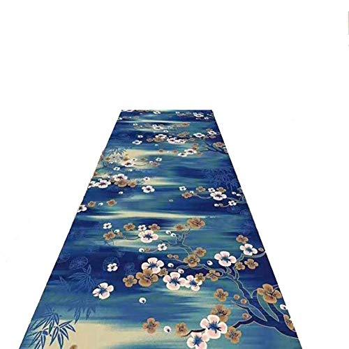 WYQ Korridor Aisle Teppich, 3D Plum Muster-Blau Teppich, Modern Minimalist Flur Teppich, Can Be Cut, Eingang Korridor, Größe kann individuell angepasst Werden,90 * 500cm