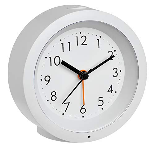 TFA Dostmann Genua 60.1029.02 Analoger Wecker mit Sweep Uhrwerk, Kunststoff, weiß, L110 x B50 x H145 mm