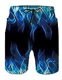 Fanient Shorts de Bain pour Hommes Maillot de Bain Maillot 3D Motif Flamme Graphique Shorts de Plage Surf Natation Maillot de Bain