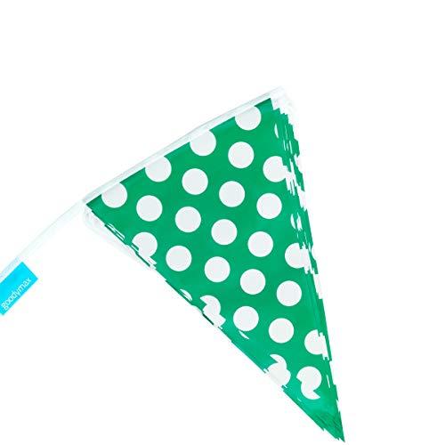 goodymax Guirnalda de banderines (10 m), diseño de lunares, color verde y blanco