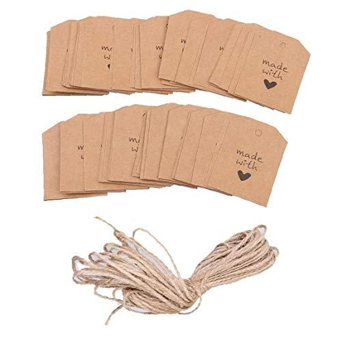 tJexePYK Kraft Etiqueta de la Etiqueta 100 Piezas del Embalaje de Regalo con la cocción Arte de la Guita Etiquetas Crafts Hangable