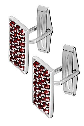 925 Sterling Silber Manschettenknöpfe im Set für Männer - Handgefertigte Designer Manschettenknöpfe mit roten böhmischen Granatsteinen - Ideal für Hochzeiten - Tolles Geschenk für Väter