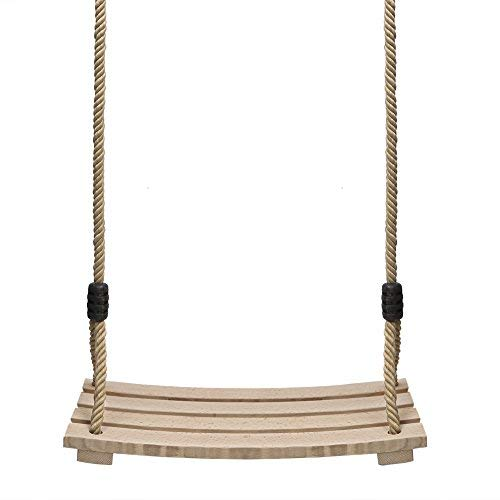 PELLOR Wood Tree Swing Seat,Indoor Outdoor Rope Wooden Swing Set for Children Adult Kids 17.7x7.9x0.6 inch