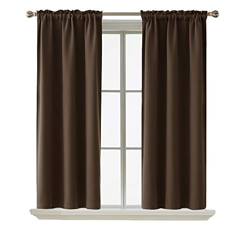Deconovo Blackout Curtain Room Darkening Thermal Insulated Curtains Rod Pocket Window Curtain for Bedroom Chocolate 38 x 54 Inch 2 Panels