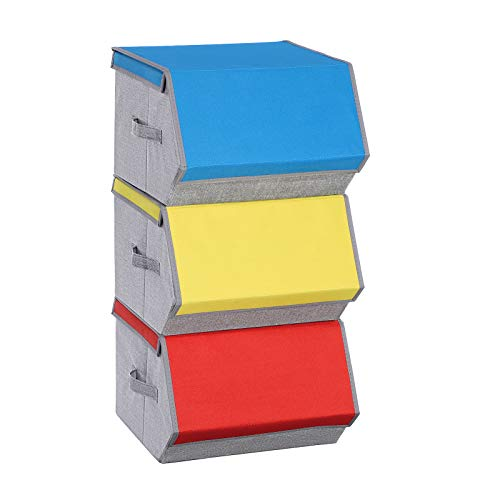 SONGMICS Set of 3 Toy Storage Box Colorful Toy Storage Organizer Stackable Kids Clothes Storage Bins Collapsible Toy Chest with Magnetic Lid Blue Orange and Yellow Colors URCLB03G