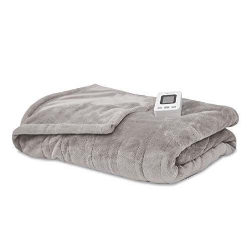 SensorPedic Heated Electric Blanket with SensorSafe, Twin, Soft Grey
