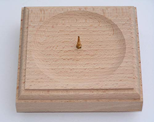 1 x Kerzenhalter Holz Natur Kerzenständer Taufkerze Kommunionskerze Weihnachtskerze Osterkerzenteller Hochzeitskerze Größe 12x12 cm als Tischdekoration 5581
