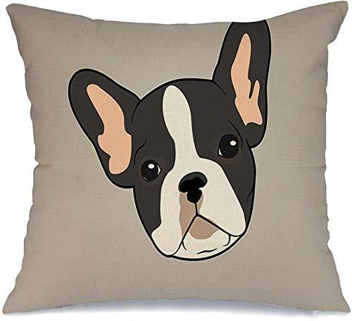 Decoración Throw Pillow Cover Funda de cojín Gris Negro Lindo Two Tone French Bulldog Animales de compañía Vida silvestre Gráfico Adorable Raza Personaje Perro Funda de Cojine 45 X 45CM
