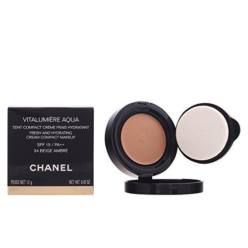 Chanel Vitalumiere Aqua cpct 34 - beige ambré 12 g - Damen, 1er Pack (1 x 1 Stück)