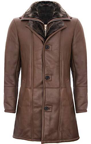 Infinity Leather Cappotto da Giacca da Uomo in Pelle di Montone Shearling in Marrone Caldo L