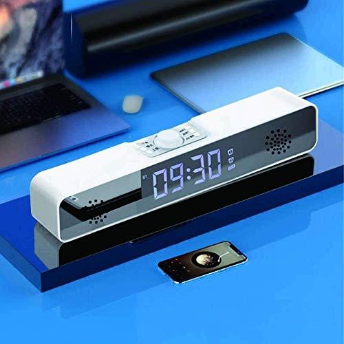 LLFFDC Sveglie digitali comodino altoparlante Bluetooth subwoofer sveglia Digitale decorazione Desktop orologio da tavolo a led con Temperatura Radio FM per Computer PC TV sveglia Digitale