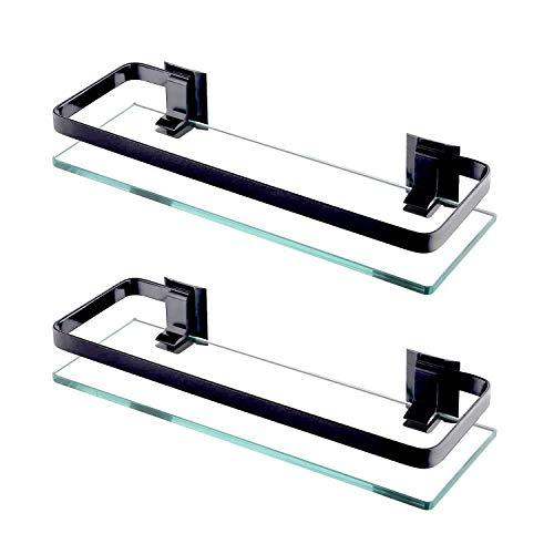 ENCOFT 2 Stück 8mm Aluminium Glas Badregal Duschablage Duschkabine Küche Wandregal Badezimmer Wandmontage Halterung (2, Schwarz)