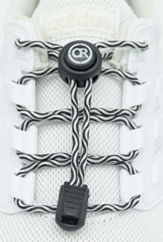 ONLY RUN Elastische Schnürsenkel mit Schnellverschluss perfektes Schnellschnürsystem für Kinder, Erwachsene & Senioren (11. Wellenmuster Schwarz)
