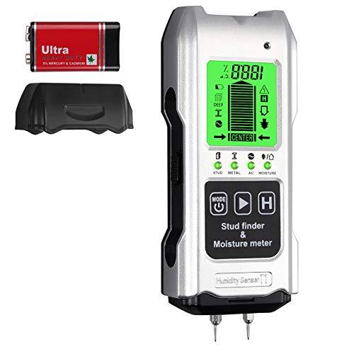 Detector de Pared Digital Escaner de Pared Profesional con Función Medidor de Humedad Temperatura para Madera Metal y AC Cables 19mm/38mm/51mm/60mm para Capintería Construcción Decoración