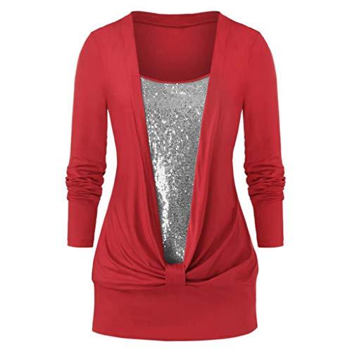 Auifor vrouwen Plus Size lange mouwen blouse glitter pailletten Square CollarCasual wild T-shirt tops
