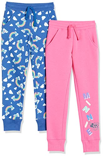 Spotted Zebra Disney Star Wars Marvel Frozen Princess Fleece Jogger Sweatpants pants, 2er-pack Mickey Rainbow, L (EU 134-140 CM)