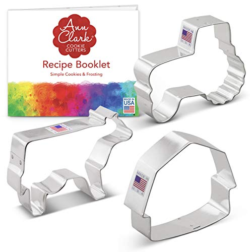 Ann Clark Cookie Cutters 3-Piece Country Farm Cookie Cutter Set with Recipe Booklet  Barn  Tractor and Cow
