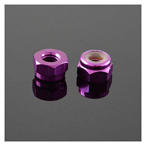 DShanLa M2 M3 M4 M5 Aluminio Aleación de Aluminio Inserción Inserción Tuercas de Bloqueo Agocinentado Nuts Multicolor anodizado para la Parte Modelo RC DShanLa (Color : Purple, Size : M2 (10pcs))