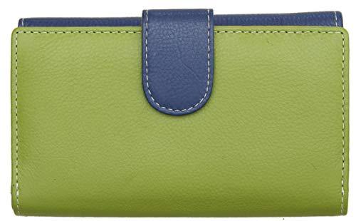 Damen Geldbörse mit 19 Kartenfächern - weiches Echtleder - RFID-Blocker - Marineblau Mehrfarbig
