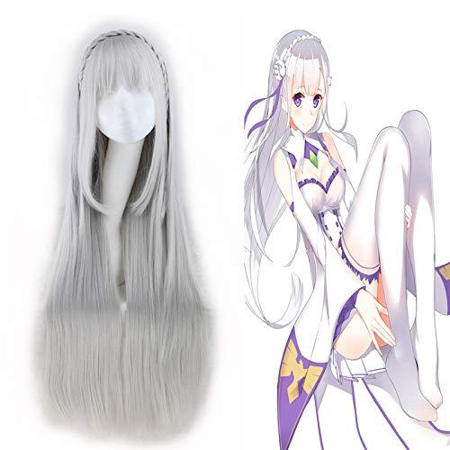 Wonepic 40'100cm Disfraz de Anime Peluca Larga Recta de Cosplay Peluca de Fiesta, Cero Inicio de la Vida en Otro Mundo Cosplay Peluca de Emilia