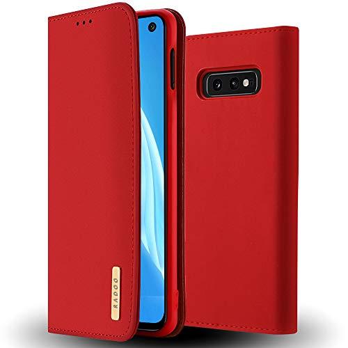 RADOO Galaxy S10e Hülle, Premium Echtes Leder Klapphülle Slim Lederhülle TPU Innenraum Hülle Schlanke Ledertasche Handyhülle für Samsung Galaxy S10e (Rot)