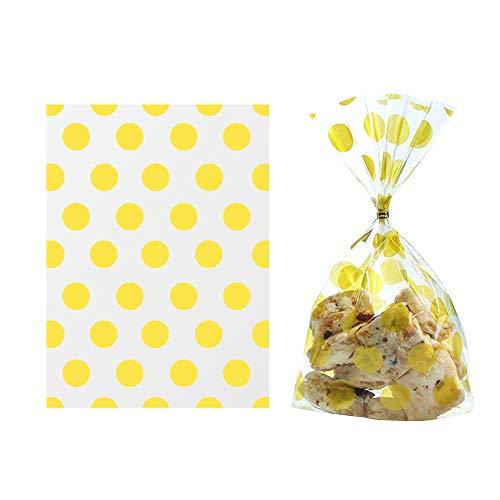 100 Pcs Doradas Lunares Bolsas de Plástico Bolsa de Dulces Celofán Transparente Regalos Bolsas para Galletas Chocolates (21x12.5cm)