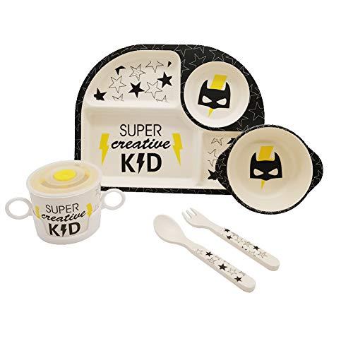 Vajilla de fibra de bambú para niños, juego de vajilla de Batman Hero, 5 piezas, cocina para niños, juego de vajilla de fibra de bambú orgánica, 5 piezas,