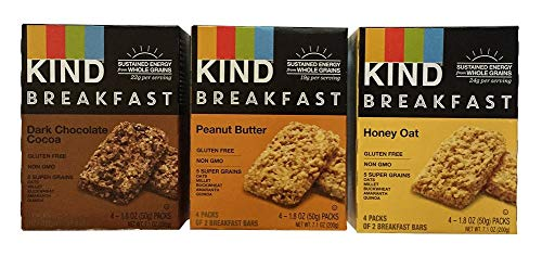 KIND Breakfast Bar Variety Bundle: Dark Chocolate Cocoa, Peanut Butter, Oats n Honey (1 box of each)