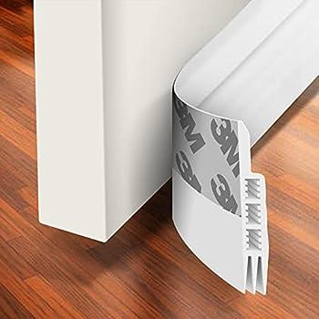 Holikme Door Draft Stopper Under Door Draft Blocker Insulator Door Sweep Weather Stripping Noise Stopper Strong Adhesive White 39  Length,White