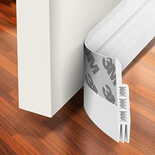 "Holikme Door Draft Stopper Under Door Draft Blocker Insulator Door Sweep Weather Stripping Noise Stopper Strong Adhesive White 39"" Length,White"