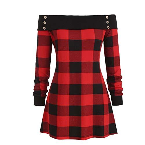 Timogee Pullover Damen Tops Sweatshirts Frauen Schulter Langarmshirts Party Abend Retro Halloween Unregelmäßiger Saum Plaid Button Tartan Tunika