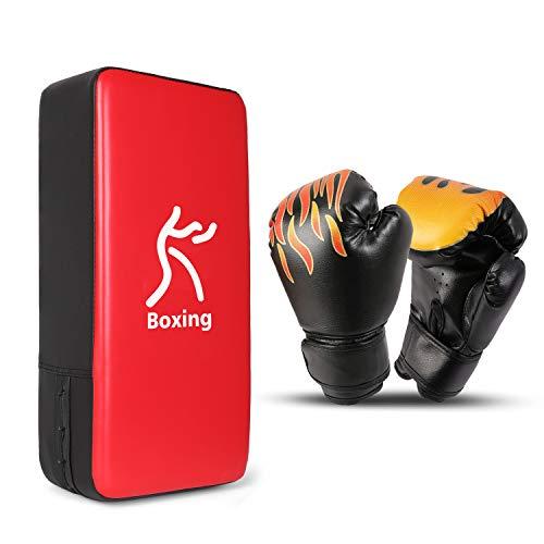 Odoland Kit de Boxeo 3-en-1 para Niños, Incluir Guantes de Boxeo, Patas de Oso, Paos de Boxeo, Guantes de Boxeo para Niños, Kickboxing, Karate, Muay Thai, Entrenamiento de MMA