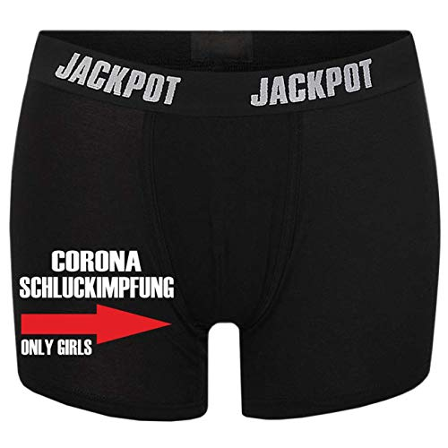 Männer Boxershort mit lustigen Spruch Schluckimpfung only Girls (Größe S bis XXXL)