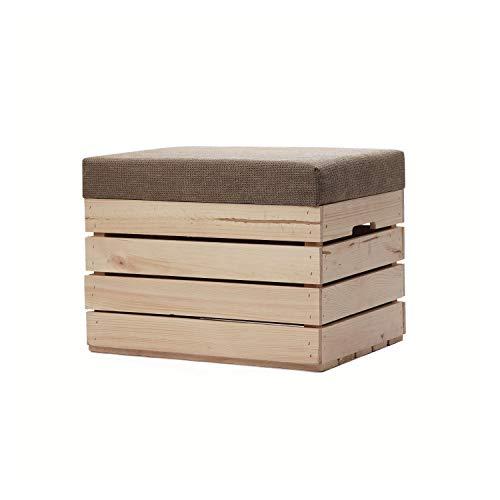 GrandBox Weinkisten Hocker Holz 37x40x50 mit Polster, Sitz-Truhe mit Stauraum, Polster-Sitz-Bank, Truhenbank Retro Shabby Chick Vintage - Natur unbehandelt