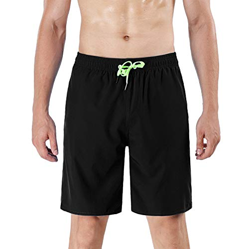 QRANSS Mens Swim Trunks Quick Dry Athletic Beach Shorts Swimming Boardshorts with Mesh Lining