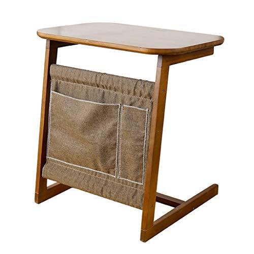 YULAN Placement Table D'appoint Table De Chevet Table De Rangement en Bambou Déplacez Portable Haute Capacité Rétro Table À Thé Salon Balcon Petit Appartement Canapé 60X40X65cm
