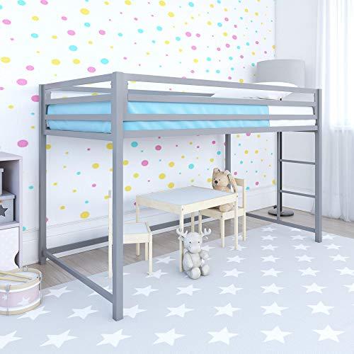 DHP Miles Metal Junior Twin Loft Bed, Silver