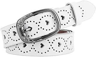 MYCHOMEUU New Ladies Belt Leather Casual Wild Hollow Belt Women's Decorative Simple Fashion pin Buckle Belt (Color : White, Size : 110cm)