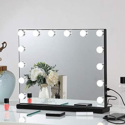 FENCHILIN Large Vanity Mirror with Lights, Hollywood Lighted Makeup Mirror with Dimmable LED Bulbs for Dressing Room & Bedroom, Tabletop or Wall-Mounted, Slim Metal Frame Design (Black)