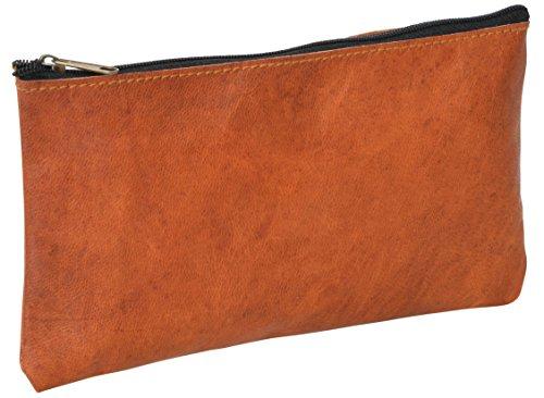 Schminktasche Geldbörse Reisetasche Dokumentenmäppchen Kosmetiktasche Utensilientasche Vintage Braun Leder