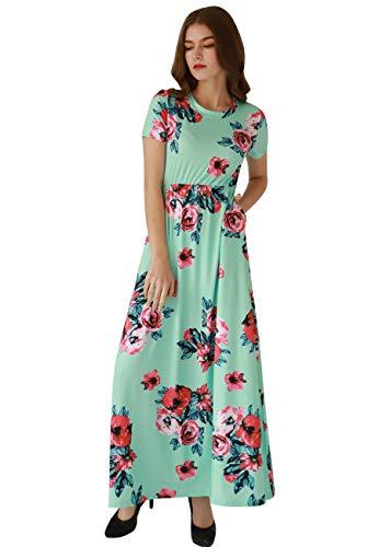 OMZIN Sommerkleid Damen Lang Maxikleider für Damen Strandkleid Sexy Kleid Kurzarm Rundhals HoheTaille mit Tasche Grün S