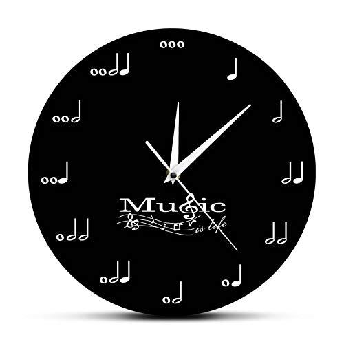 gongyu La música es la Vida, Reloj de Pared Inspirador, Notas Musicales, Reloj Musical, Clave de Sol, Pentagrama, Estudio de música, Reloj de Pared Colgante, Regalo de músico