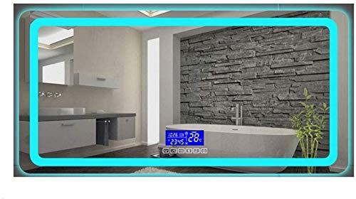 Espejo de Pared de baño Iluminado con LED Rectangular de 500 x 700 mm, con Interruptor táctil Demister Bluetooth multifunción (Color: luz Azul Hielo, Tamaño: 500X700MM)