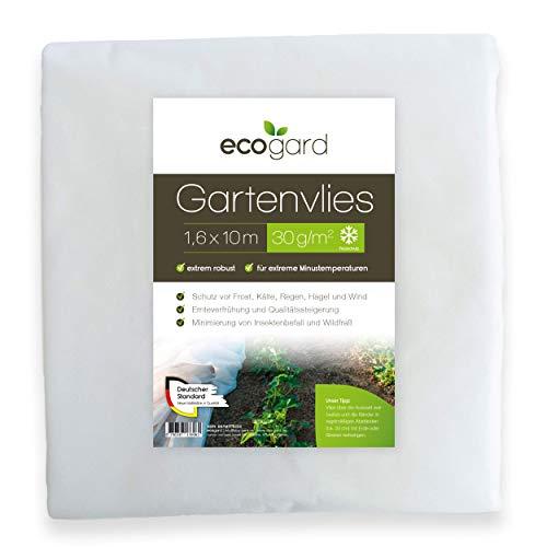 ecogard Gartenvlies | 16m² | 30g/m² | 1,6 x 10 m | Frostschutz | Ertragssteigerung | Insektenschutz (30 g/m²)