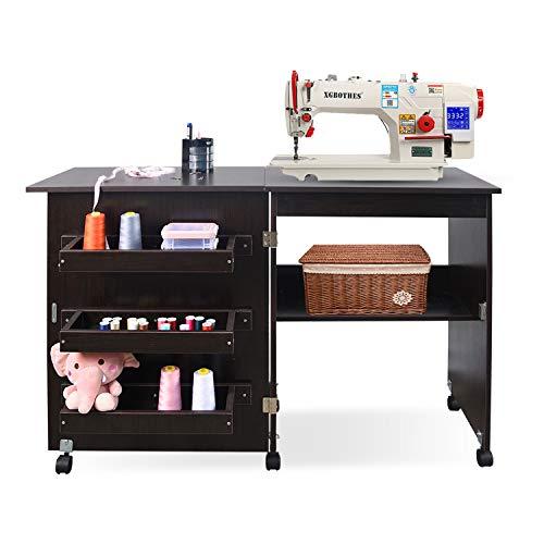 Mesa plegable de costura para máquina de coser, multifuncional, con estantes de almacenamiento y cubos de almacenamiento, escritorio de costura, escritorio con ruedas con cerradura en acabado blanco