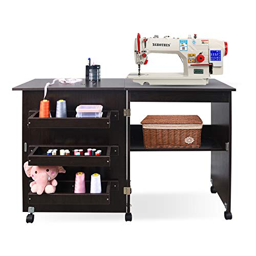 Folding Sewing Table Multifunctional Sewing Machine Cart Table Sewing Craft Cabinet Table with...