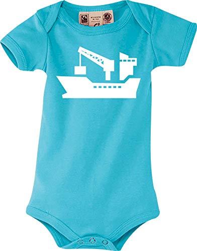 Shirtstown Sweet Bébé Corps Cargo, Maritime, Outre-Mer, Marin, Capitaine - Bleu Clair, 6-12 Monate